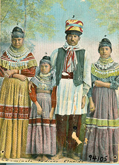 Figure 3: Photo of Seminole family wearing clothing made of calico fabric.