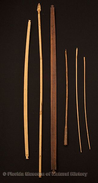 "Bows and arrows: bow, Miccosukee, wood, made by Charley Cypress at Big Cypress Reservation, 1952, 47.6"" long (92801); spear, Seminole, bamboo, twine, ca. 1926, 57.7"" long (92-46-4); bow, Seminole, wood, ca. 1890s, purchased at Mr. Charlie Tiger Tail's Trading Post, 58.3"" long (E-789); arrow, unfinished, Miccosukee, wood, ca. 1950, 31.9"" long (92803); arrow, Miccosukee, wood, ca. 1952, made by Charley Cypress, Big Cypress Reservation, 30.2"" long (92806); arrow, Miccosukee, wood, ca. 1952, made by Charley Cypress, Big Cypress Reservation, 34.5"" long (92802)."