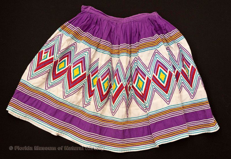 "Woman's skirt, Seminole, cotton cloth and thread, mid-20th century, 41.3"" top to bottom (2008-27-1)."