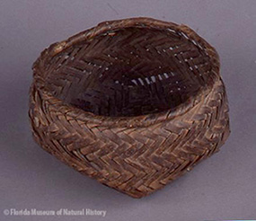 Figure 1: Basket, Seminole, cane, 4/4 twill, circa 1830s, 7 x 11.2 cm. Donated by Mr. and Mrs. Mims Mattair (72-29-H307).