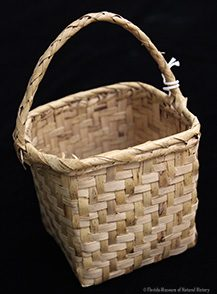 Figure 3: Berry Basket, Miccosukee, 1942, 9.5 x 10 x 7 cm (16 cm w/ handle). Collected at Big Cypress by John M. Goggin (3933-92919).