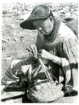 Seminole basket maker weaving
