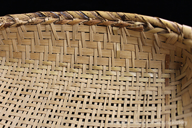 Figure 1: Basket, Miccouskee, split palmetto, 2/2 twill, 1939, 7 x 29 cm. Collected at Josie Billie's Camp by John M. Goggin (3933-92907).