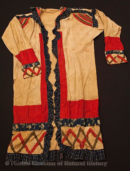 "Male ""Doctor's"" coat, Seminole, 1830s or 1840s, 45.1"" top to bottom (E-595)."