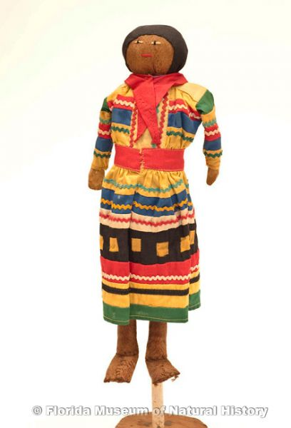 "Doll, male, Seminole, cotton cloth, palm fiber, early 20th century, 12.0"" high (2007-7-14)."