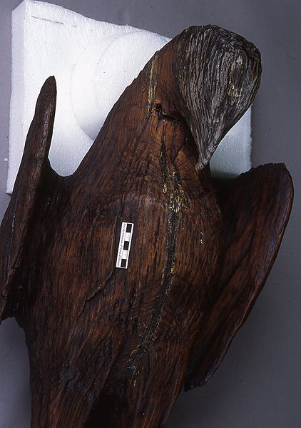 Carved post with eagle, wood, A.D. 100-300; Fort Center, Glades Co., 5'2in x 14½in x 10in (62355)