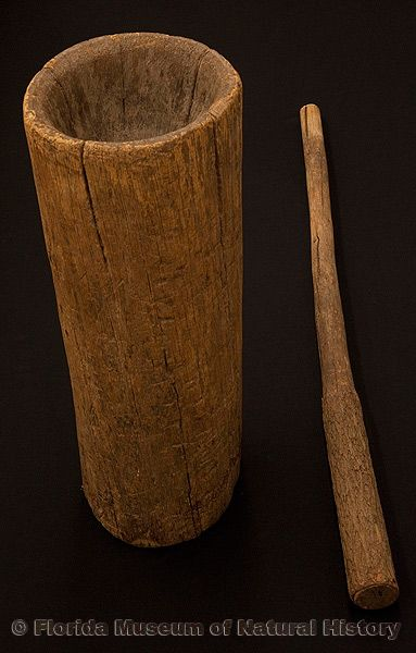 "Mortar and pestle, Seminole, wood, early 20th century, near Moore Haven, 27.6"" high (E-932)."