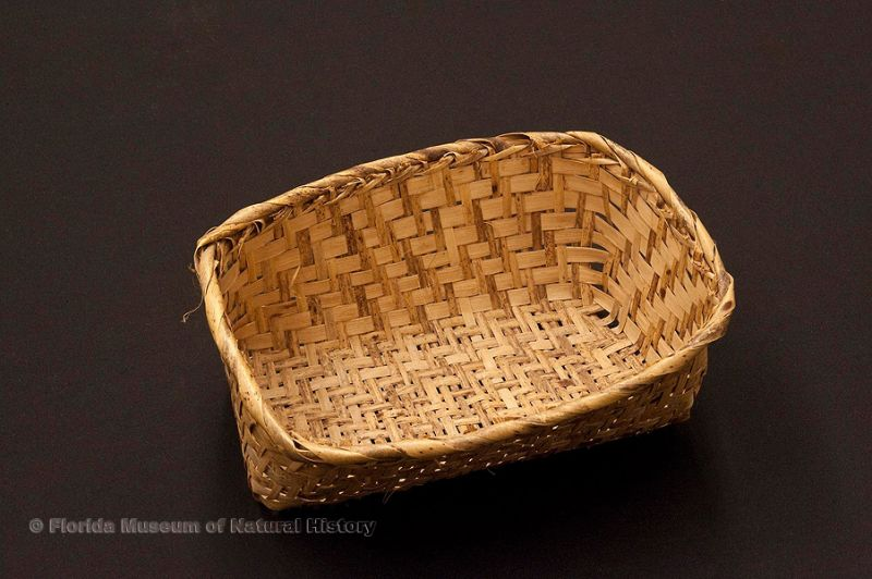 "Basket, Miccosukee, split saw palmetto stems, purchased at Tamiami Trail in 1949, 8.0"" long (92904)."