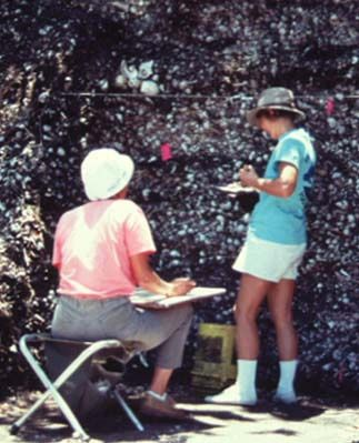 Volunteers Barbara Toomey and Linda Ballou record the strata at the Randell Mound, 1990.