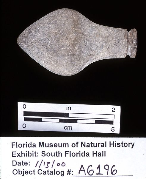 Plummet or sinker, ground stone, A.D. 700-1500, Key Marco, Collier Co. (A-6196)