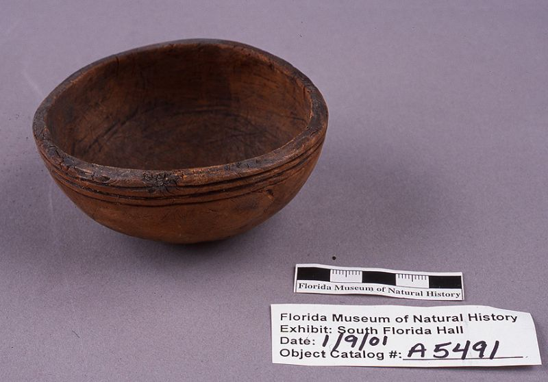 Vessel with incised design, gumbo limbo wood, A.D. 700-1500, Key Marco, Collier Co. (A-5491)