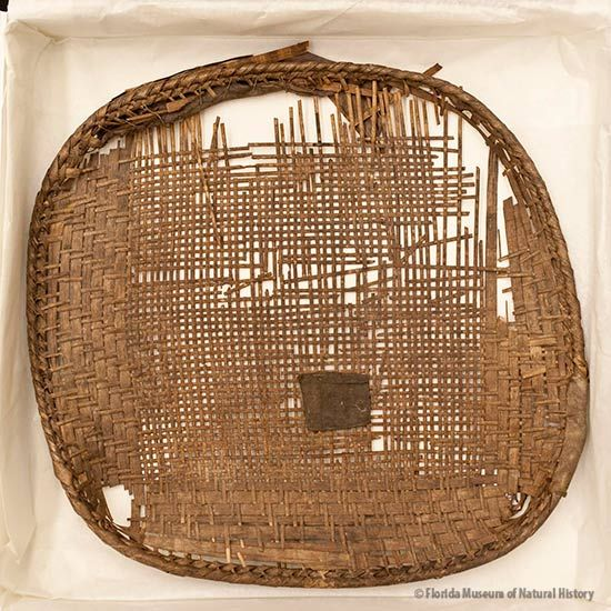 Basket, Miccosukee, split palmetto, 2/2 twill, early 20th c., 37 cm (diameter). Collected by John M. Goggin (3933-92923).