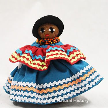 Figure 28: Doll, Female, Seminole (2013-11-6) Felt, cotton cloth, glass beads. Circa 2013, 15.08cm Donated by Rita Youngman.