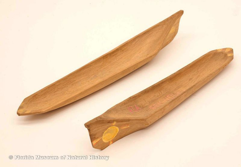 "Miniature canoes: Seminole, wood, ca. 2000, 12.4"" long (2007-7-17) and 11.8"" long ( 2007-7-18)."