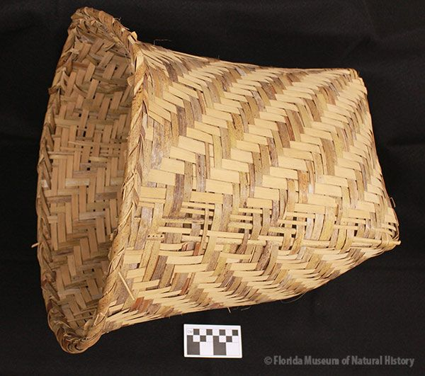 Basket, Miccosukee, split palmetto, 3/3 twill, 1942, 41 x 26 x 24 cm. Made by Ada Tiger, collected by John M. Goggin (3933-92805).