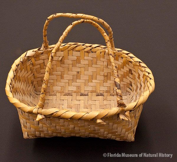 Basket, Miccosukee, split palmetto, 2/2 twill, 1943, 17 x 36 x 29 cm. Collected at Big Cypress by John M. Goggin (3933-92922).