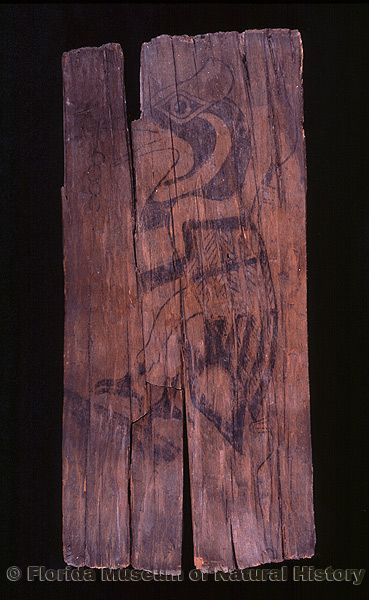 Plaque with painted woodpecker, cypress wood with natural pigments, A.D. 650-750, Key Marco, Collier Co. (A-5537)