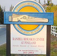 A colorful sign on Waterfront Drive welcomes visitors to the Randell Research Center at Pineland.