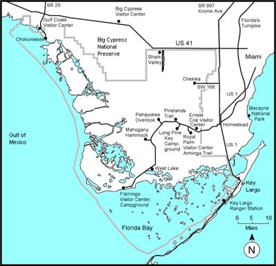 Everglades National Park Map. Courtesy National Park Service