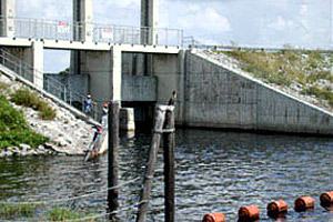Water control structure on Lake Okeechobee. Photo © Cathleen Bester/Florida Museum
