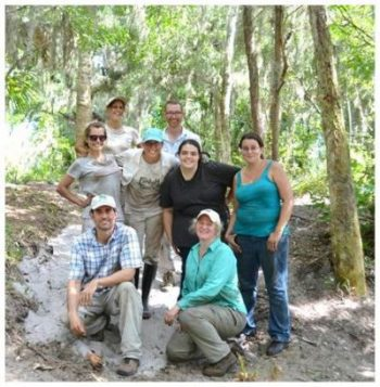 Archaeologists posed for group photo on archaeological site