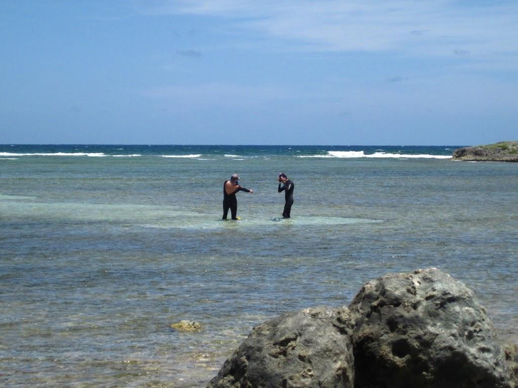 Gustav and François in snorkel gear