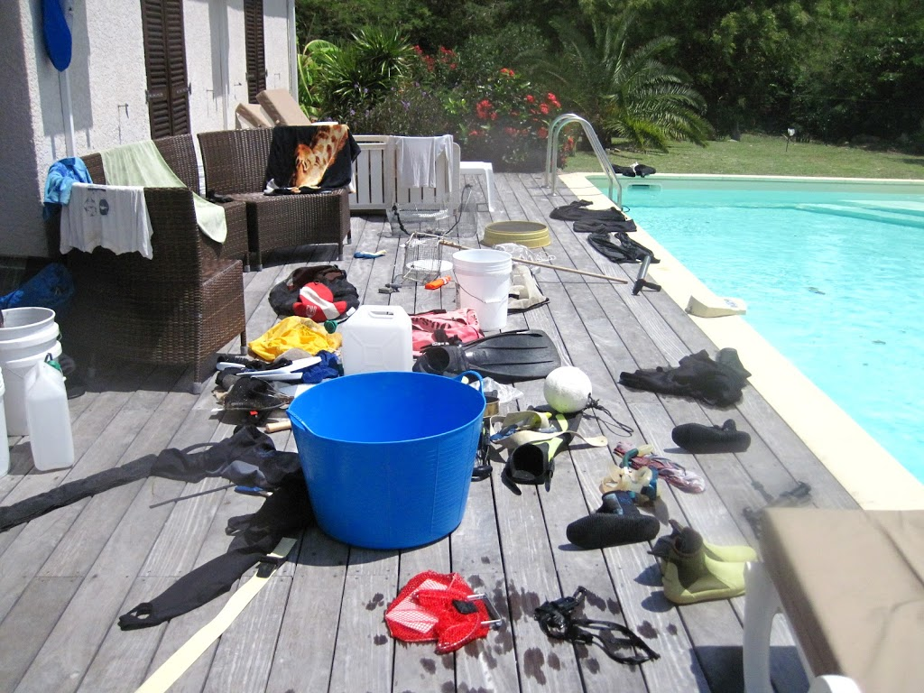 gear on the pool deck