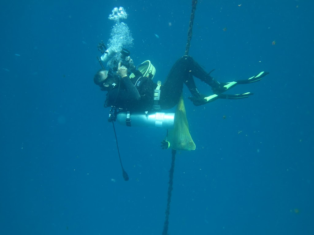 Gustav taking photos during a safety stop on the buoy line