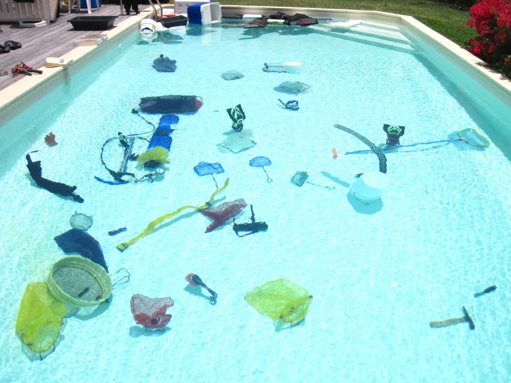 equipment scattered throughout the pool