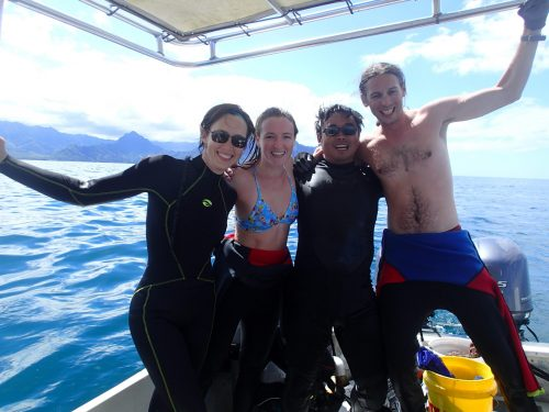 group of divers on the boat after a dive