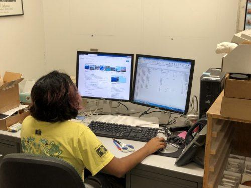 Nusrat entering data into a spreadsheet
