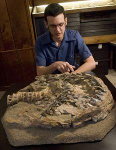 Dana Ehret with fossil shark