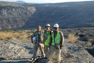 Jonathan Bloch, Florida Museum associate curator of vertebrate paleontology (from left), pictured with graduate students Aldo Rincon, University of Florida, and Jorge Moreno-Bernal, University of Nebraska-Lincoln at the Cerrejon mine.Photo by Jason Head