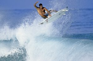 Former professional surfer Shea Lopez, the oldest son of Gulf Coast surfer Pete Lopez, surfs in Hawaii in 2005.  Photo by Jeff Divine
