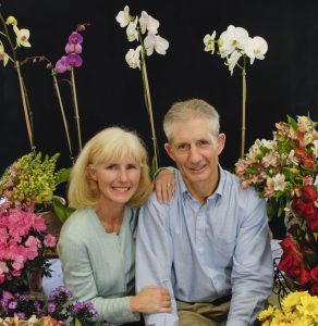 Pam and Doug Soltis, co-authors in new study published in the journal Nature are pictured with various flowering plants. Florida Museum of Natural History photo by Eric Zamora