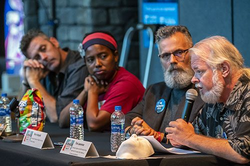 Panelist answers questions at Creative B movie screening