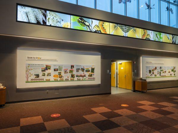 exhibit panels in gallery