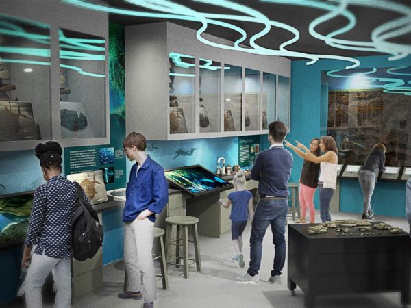 render of people in water lab looking at cabinets
