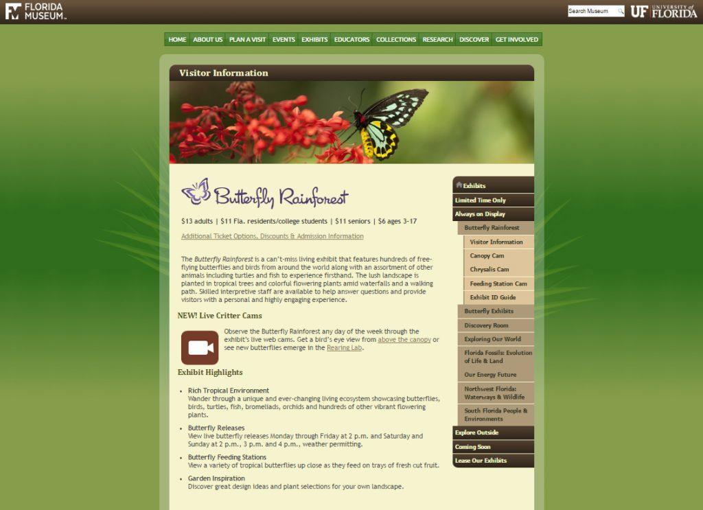 Desktop view of Rainforest page