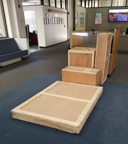 boxes in lobby