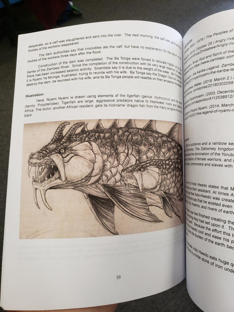 illustration of fish-like dragon