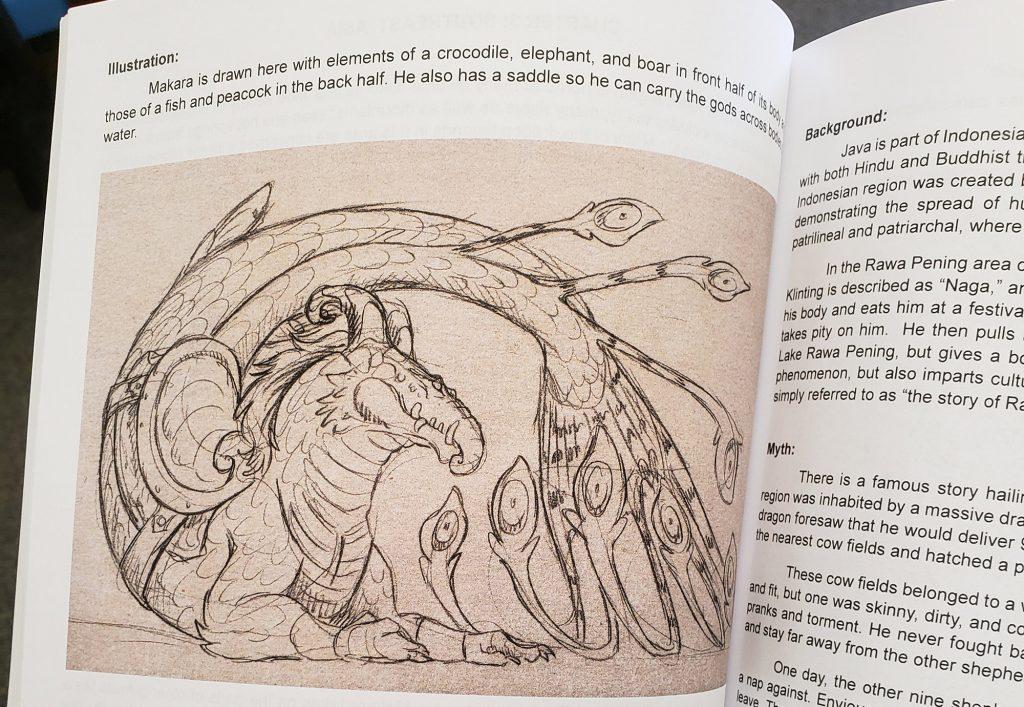 illustration of peacock-like dragon