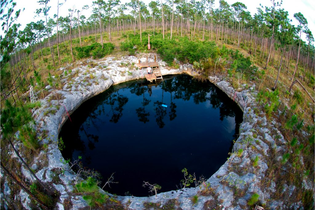 overhead view of small round sink hole