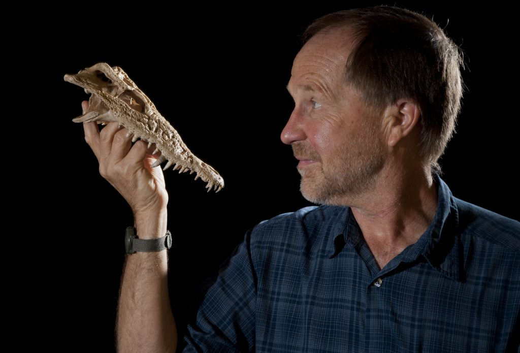 researcher holding crocodile fossil skull
