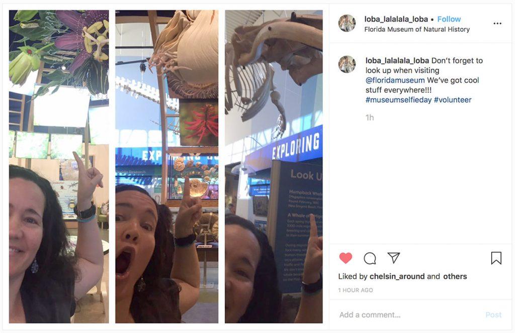 three selfies of woman in museum exhibits