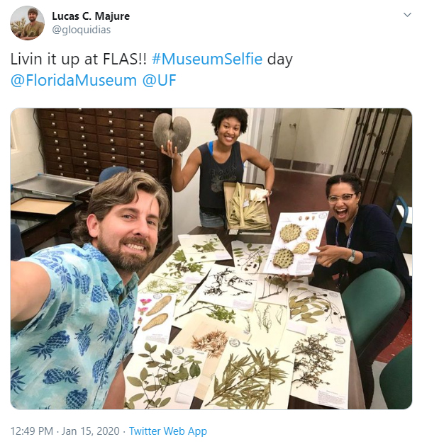 group at table with pressed plant specimens