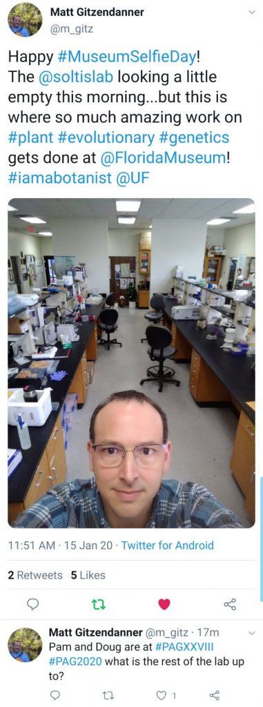 man taking selfie in empty lab space