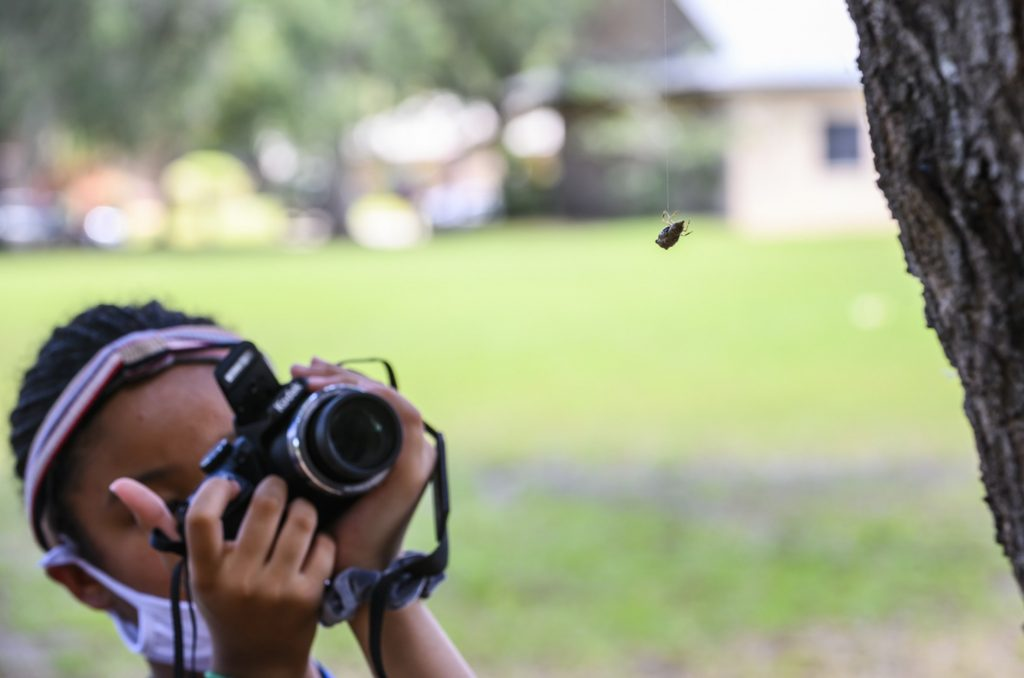 A photo camp student photographing a spider.