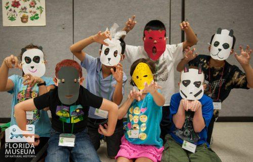 kids wearing animal masks