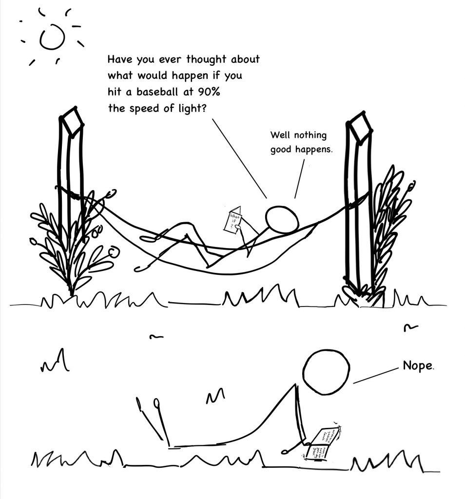Cartoon drawing of character in hammock